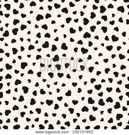 Vector hearts pattern. Valentines day background. Abstract black and white seamless texture with small scattered hearts. Festive repeat design for decor, gift paper, greeting cards, textile, prints. Hearts pattern. Valentines pattern. Love pattern. poster