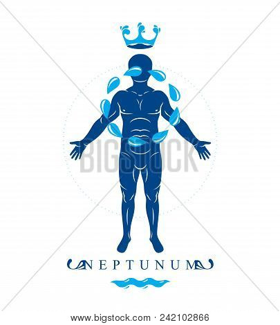 Vector Illustration Of Human Being Standing Created With A Circle Of Water Drops. Pure Water As The