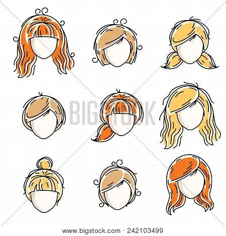 Collection Of Women Faces, Human Heads. Diverse Vector Characters Like Red-haired And Blonde Females