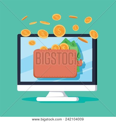 Online Income Money In Electronic Wallet Vector Illustration, Flat Cartoon Golden Coins Flying In Wa