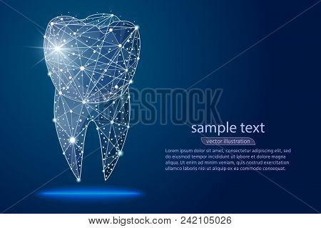 Abstract Design Dental Dental Clinic, Logo Low Poly Wireframe In The Form Of Constellations And Spac