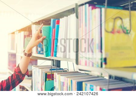 Hand Women Choosing A Book In A Library.  Education  Concept