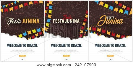 Set Of Festa Junina Backgrounds With Hand Draw Doodle Elements And Party Flags. Brazil Or Latin Amer