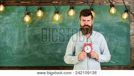 School Schedule Concept. Man With Beard And Mustache On Suspicious Face Stand In Classroom. Bearded