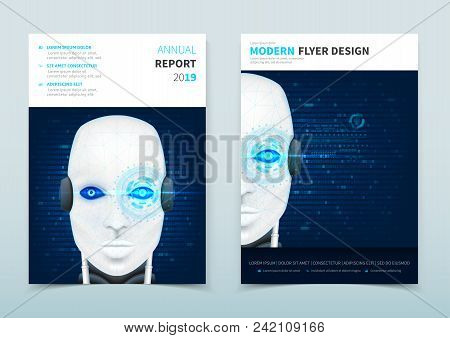 Corporate Business Flyer Design With Robot. Face Recognition System. Vector Template Of Brochure Wit