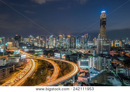 Beautiful Sunset Of The Metropolitan Bangkok City Downtown Cityscape Urban Skyline  Thailand In Dece