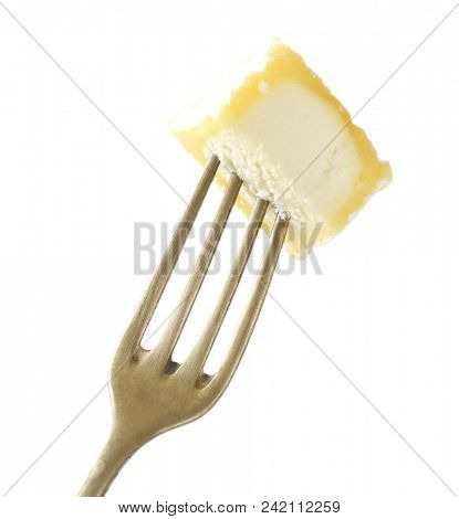 Piece of Chevre cheese on fork