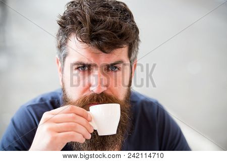 Coffee Break Concept. Man With Long Beard Looks Calm And Relaxed. Man With Beard And Mustache On Cal