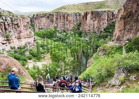 Ihlara Valley, Turkey - May 6, 2018: People Walk To Ihlara Valley In Aksaray Province. Ihlara Valley