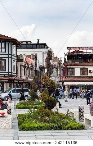 Konya, Turkey - May 7, 2018: People On Sehit Nazim Bey Cd Street In Konya City. Konya Is A Major Cit