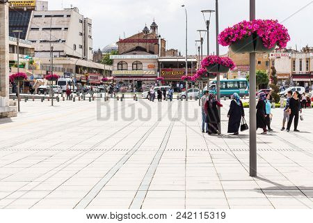 Konya, Turkey - May 7, 2018: People On Muze Alani Square In Center Of Konya City. Konya Is A Major C