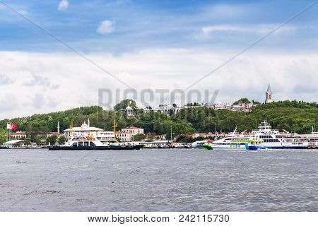 Istanbul, Turkey - May 11, 2018: Excursion Ships Near Pier In Golden Horn Bay In Istanbul City. Ista