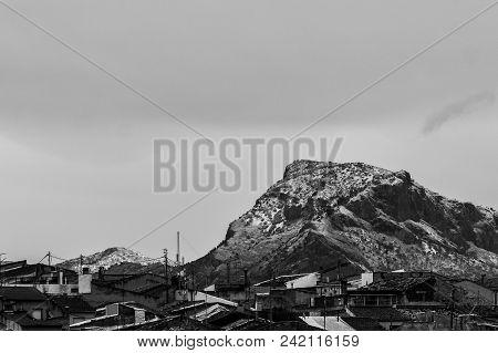Sierra Nevada Del Cid View From Monóvar. Winter Landscape Black And White Background