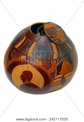 This Is A Photo Of A Mosaic Gourd On A White Background