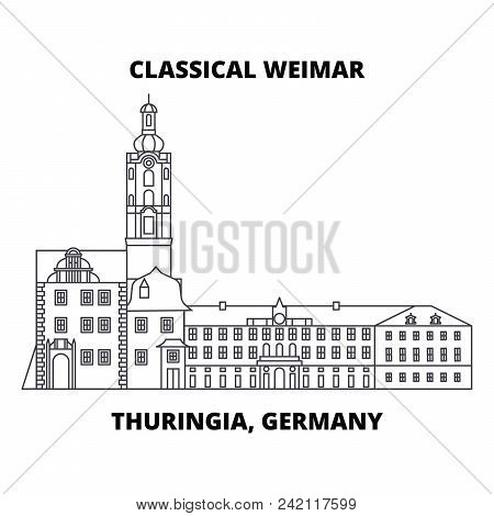 Classical Weimar, Thuringia, Germany Line Icon, Vector Illustration. Classical Weimar, Thuringia, Ge