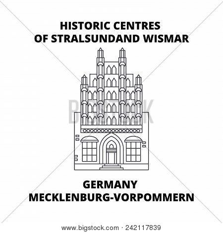 Germany, Mecklenburg-vorpommern, Historic Centres Of Stralsundand Wismar Line Icon, Vector Illustrat