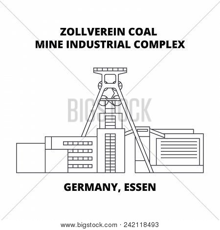 Germany, Essen, Zollverein Coal Mine Industrial Complex Line Icon, Vector Illustration. Germany, Ess