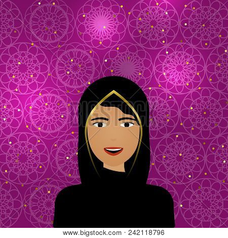 Muslim Female Portrait With Shiny Arabic Pattern. Traditional Young Arabic Woman In Hijab. Arab Wome