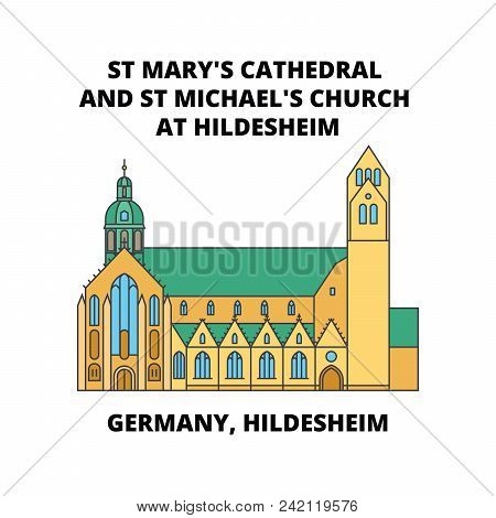 Germany, Hildesheim, St Mary's Cathedral And St Michael's Church At Hildesheim Line Icon Concept, Fl