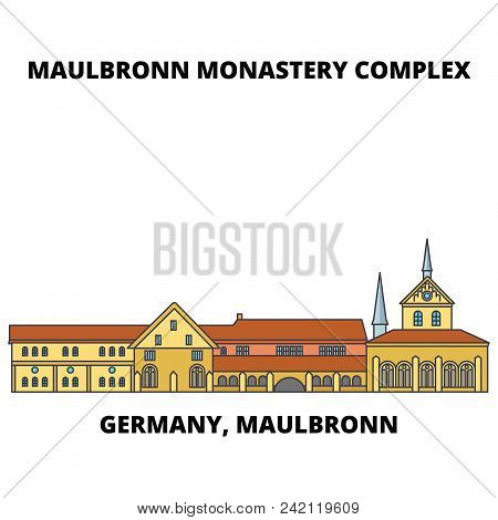 Germany, Maulbronn, Maulbronn Monastery Complex Line Icon, Vector Illustration. Germany, Maulbronn,