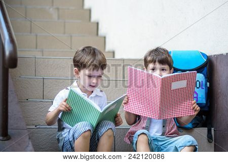 Children Go Back To School. Start Of New School Year After Summer Vacation. Two Boy Friends With Bac
