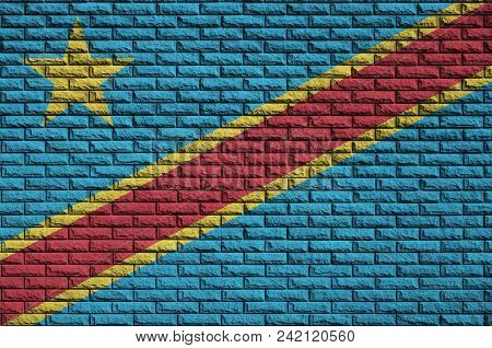 Democratic Republic Of The Congo Flag Is Painted Onto An Old Brick Wall