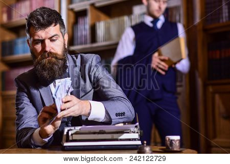 Writing And Fees Concept. Man In Oldfashioned Suit Holds Money. Writer Counts Honorarium For New Boo