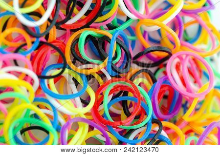 Various Colorful Plastic Tires Are On The Table.selective Clarity
