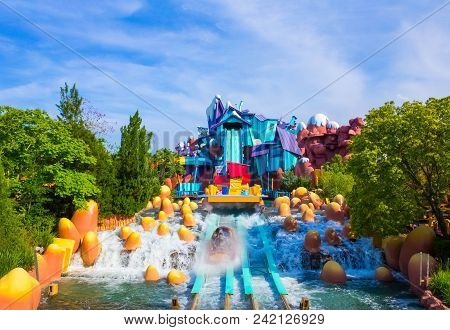 Orlando, Florida, Usa - May 10, 2018: The Ride Toon Lagoon. Islands Of Adventure Of Universal Studio