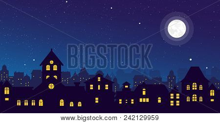 Vector Illustration Of The Night Town Skyline With A Full Moon Over Urban Houses Rooftops In Flat St