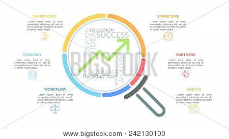 Magnifying Glass With Upward Graph And Word Cloud Inside Surrounded By Thin Line Icons And Text Boxe