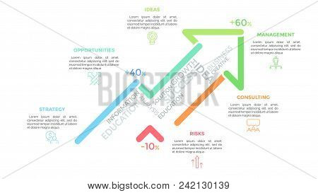 Upward Graph Consisted Of Bright Colored Lines And Surrounded By Linear Symbols And Text Boxes. Conc