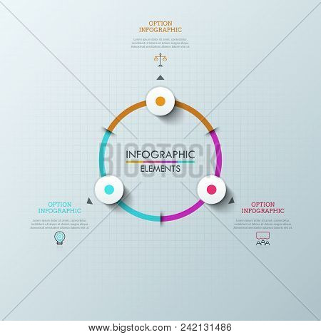 Circular Chart With 3 Round Elements, Arrows Pointing At Linear Pictograms And Text Boxes. Concept O