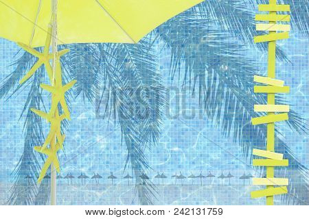 Yellow Parasol Arrows Yellow Starfish Mood Ad Space Summer Resort Theme Background