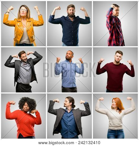 Group of mixed people, women and men showing biceps expressing strength and gym concept, healthy life its good