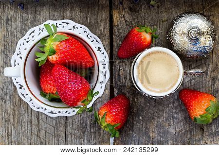 Fresh Organic Strawberries And Traditional Turkish Coffee On Wooden Background