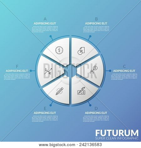 Paper White Pie Chart Consisted Of 6 Parts With Thin Line Pictograms Inside. Concept Of Statistical