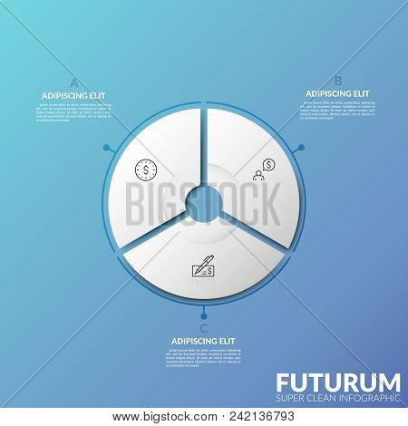 Circular diagram divided into 3 sectors with thin line symbols inside and text boxes. Three options of personal financial planning concept. Futuristic infographic design template. Vector illustration. poster