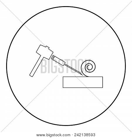 Hammer And Wood Carpentry  Icon Black Color In Circle Or Round Vector Illustration