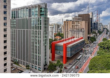 View Of The Famous Paulista Avenue With Its Buildings In The Downtown Of The City Of São Paulo And M