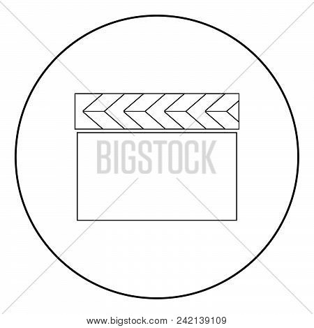 Cinema Clapper  Icon Black Color In Circle Or Round Vector Illustration