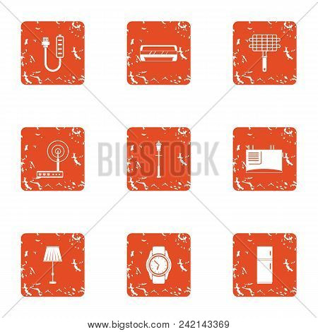 Fitter Icons Set. Grunge Set Of 9 Fitter Vector Icons For Web Isolated On White Background