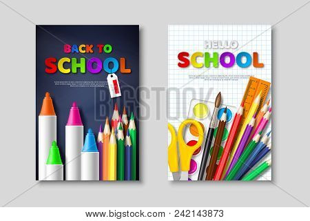 Back To School Sale Posters With 3d Realistic School Supplies And Paper Cut Style Letters. Poster Fo