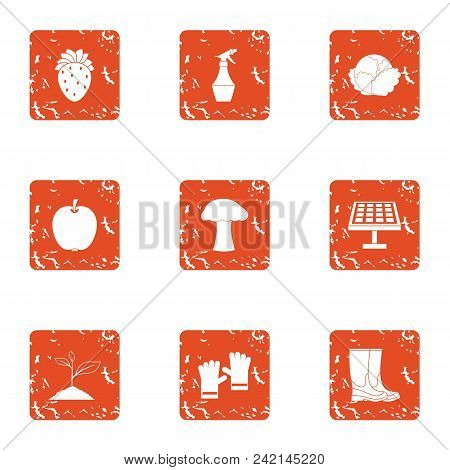 Grow Grass Icons Set. Grunge Set Of 9 Grow Grass Vector Icons For Web Isolated On White Background