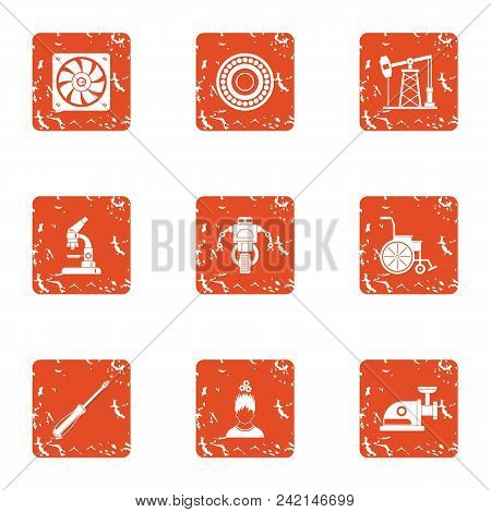 Alternative Fuel Icons Set. Grunge Set Of 9 Alternative Fuel Vector Icons For Web Isolated On White