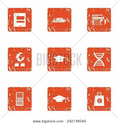 Online Research Icons Set. Grunge Set Of 9 Online Research Vector Icons For Web Isolated On White Ba