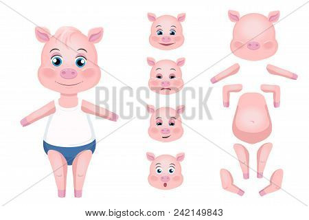 Cute Pigs Cheerful Vector Photo Free Trial Bigstock