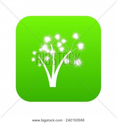 Three Spiky Palm Trees Icon Digital Green For Any Design Isolated On White Vector Illustration