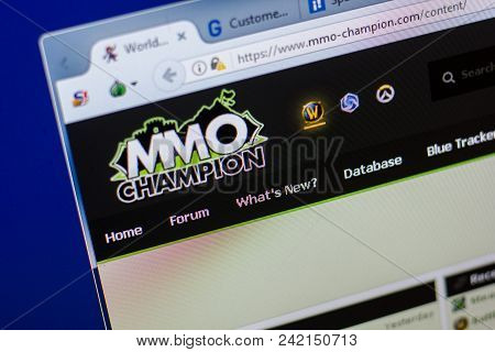Ryazan, Russia - May 20, 2018: Homepage Of Mmo-champion Website On The Display Of Pc, Url - Mmo-cham