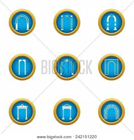 Arch Case Icons Set. Flat Set Of 9 Arch Case Vector Icons For Web Isolated On White Background